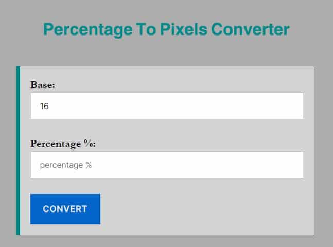 percentage to pixels converter