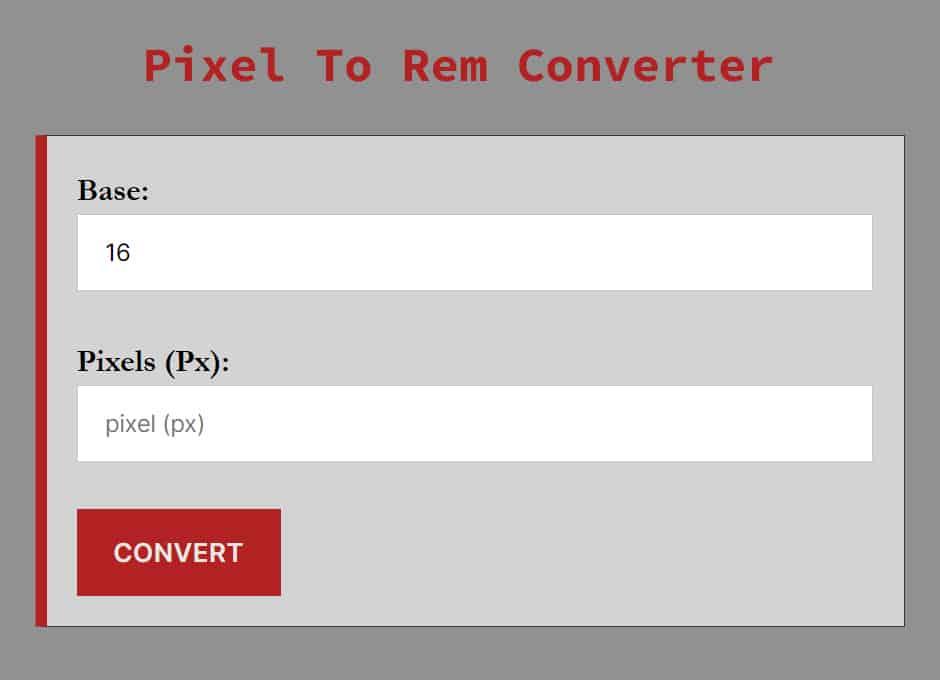 Pixel To Rem Converter