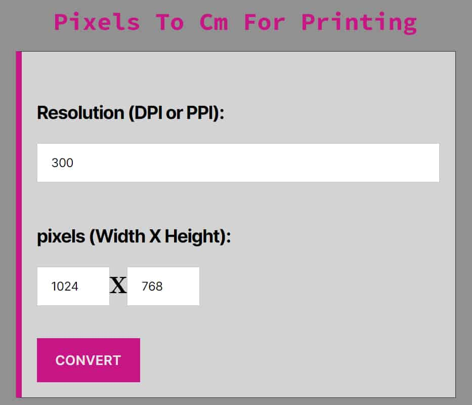 Pixels To Cm For Printing