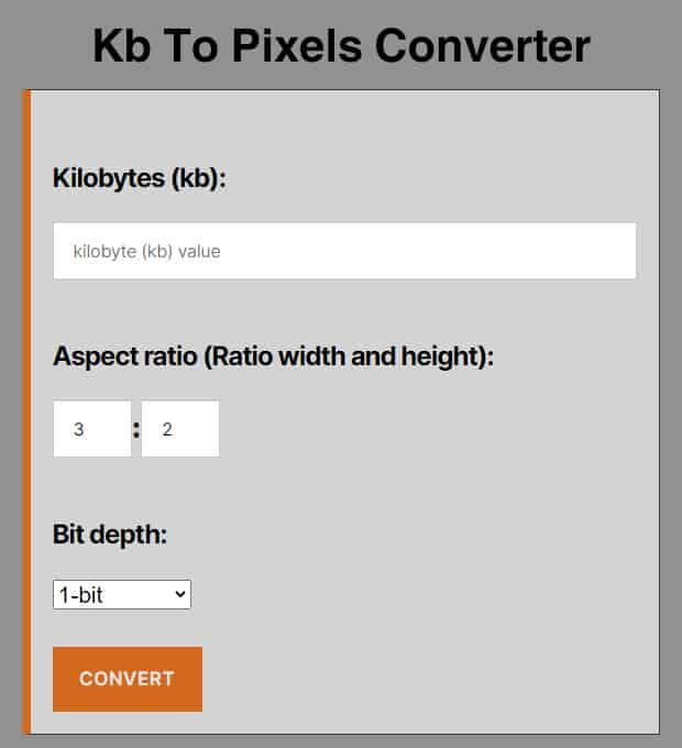 Kb To Pixels Converter