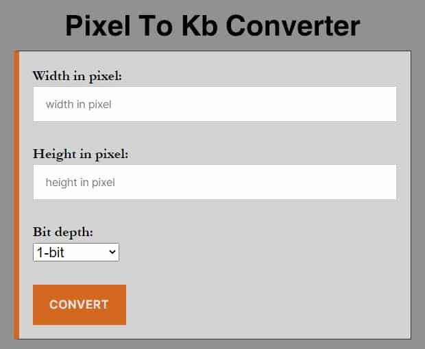 Pixel To Kb Converter